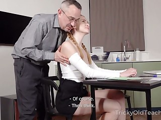 Titless vicious student lures tutor and gets poked from behind darn great