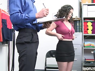 Crispy brunette with juicy booty Lyra Lockhart gets punished for swiping